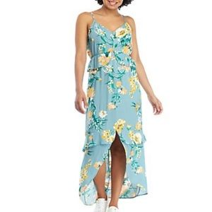 Eyeshadow Floral Ruffle Maxi Dress